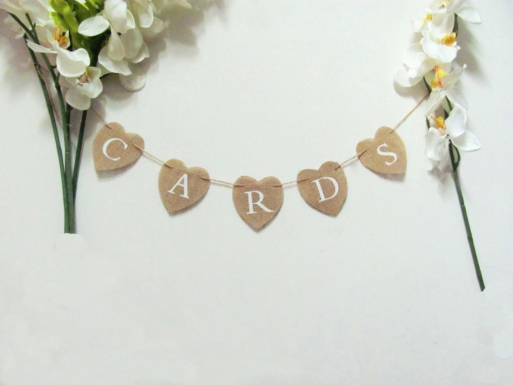 Cards Hessian Bunting Banner Heart Rustic Wedding Decor