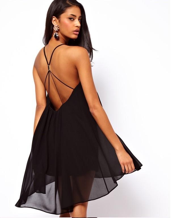 2014 New Summer Women Clothing Sexy Spaghetti Strap Dresses Halter Backless Chiffon Beach Dress black+XL