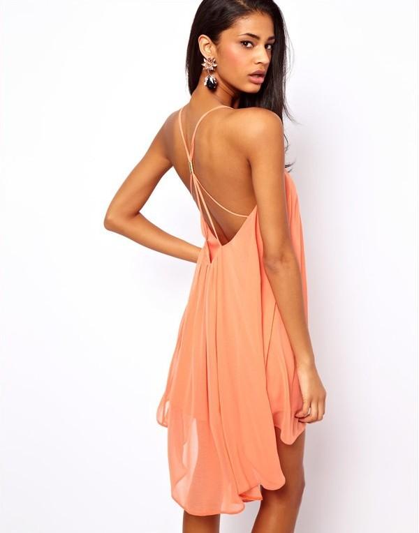 2014 New Summer Women Clothing Sexy Spaghetti Strap Dresses Halter Backless Chiffon Beach Dress pink+ M
