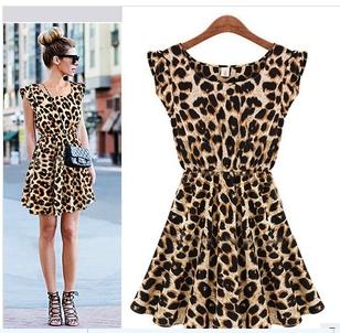 Casual Sleeveless Round Neck Leopard Dress Size L