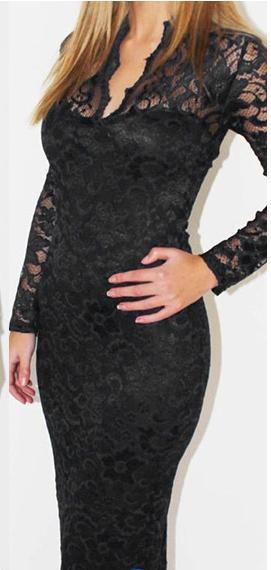 V-neck Long-Sleeved Lace Dress Bag Hip Black L