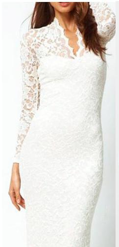 V-neck Long-Sleeved Lace Dress Bag Hip White L