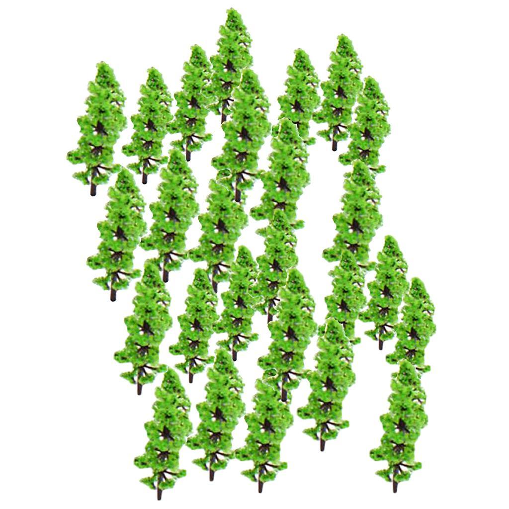 2x 100pcs Model Green Fir Tree Train Set Plastic Trunk Garden Landscape Scene