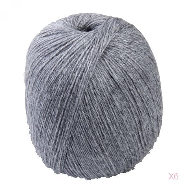 6x 400m Grey Soft Cashmere Wool Knitting Crafts Yarn Craft Sweater scarf Making
