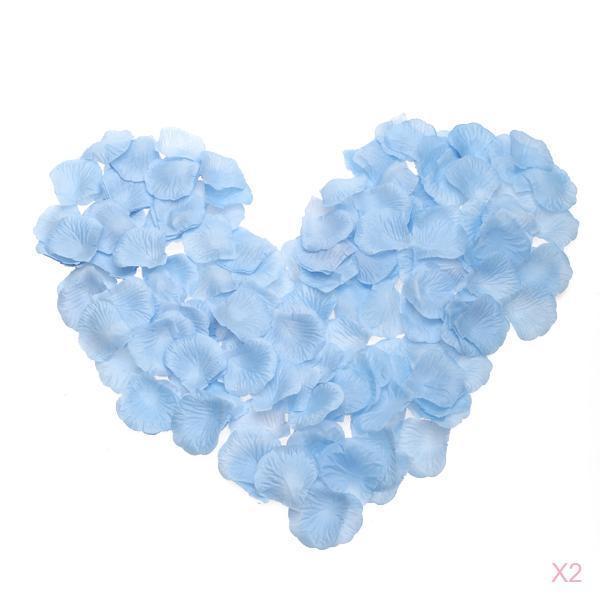 2x 300Pcs Light Blue Silk Rose Petals Bridal Shower Wedding Table Scatters Decor