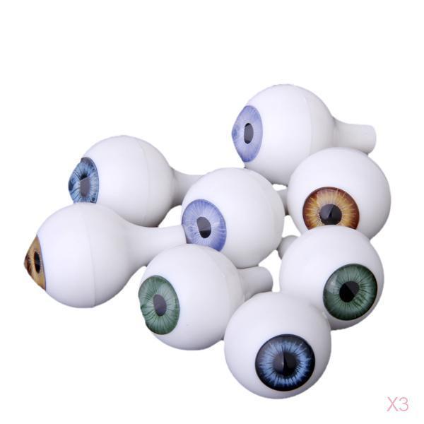 3x 8 PCs Round Acrylic Plastic Doll Eyes Eyeballs Halloween Props 22mm