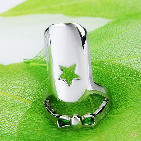 3x Beauty Birthday Gift Green Bowknot False Nail Art Finger Ring Party Jewelry