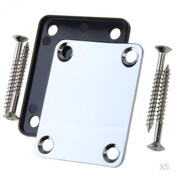 5x Chrome Elec GUITAR Neck Plate & Screws For Fender Strat