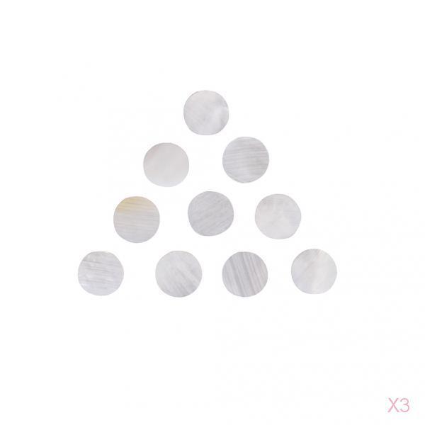 3x 10 White Mother of Pearl shell Dot Guitar Fingerboard fretboard marker 1/4''