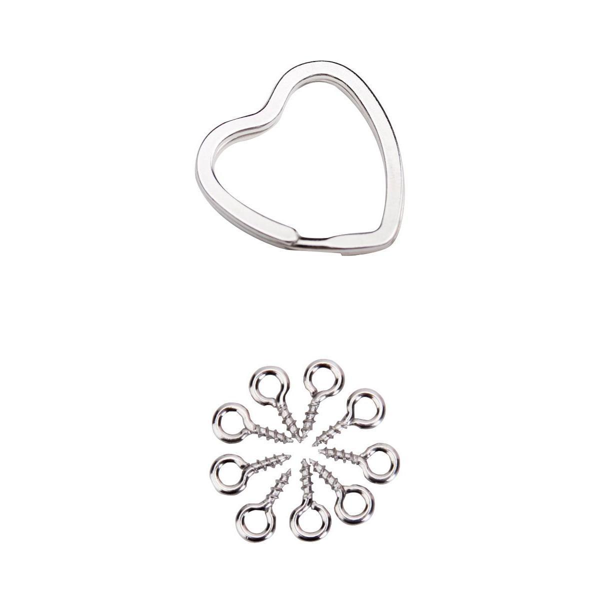 100pcs Silver Plated Eye Pin w/4mm Screw Peg+20pcs Heart Shaped Split Key Ring