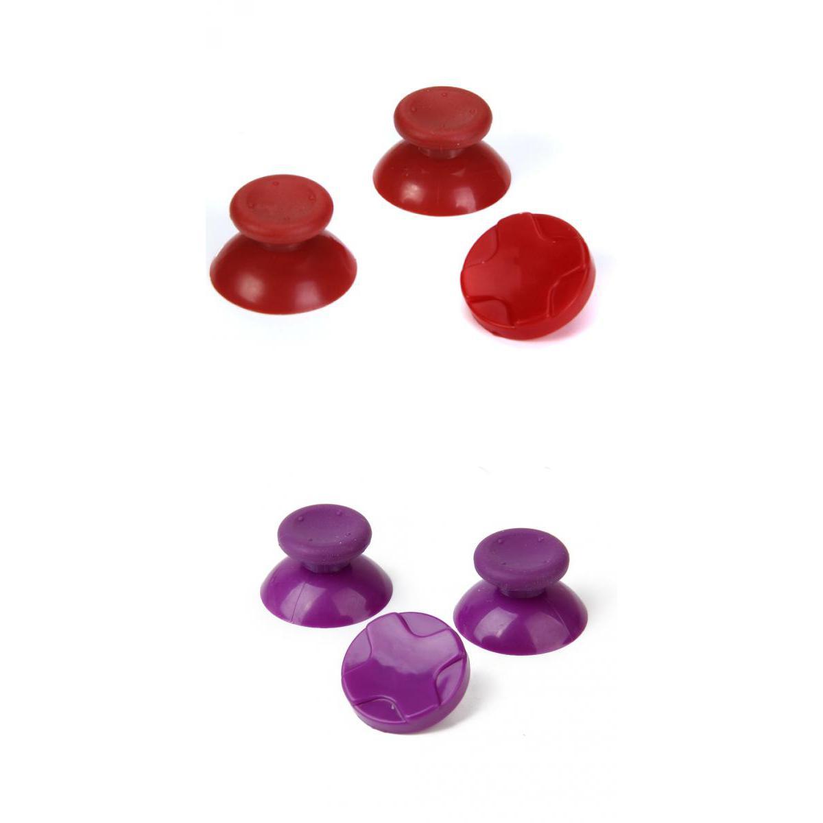 2 Sets Purple + Red Thumb Stick Joystick Caps +D-pad for Microsoft Xbox 360