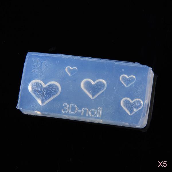 5x Heart Shape 3D NAIL ART TIP SILICONE MOLD DIY DECORATION