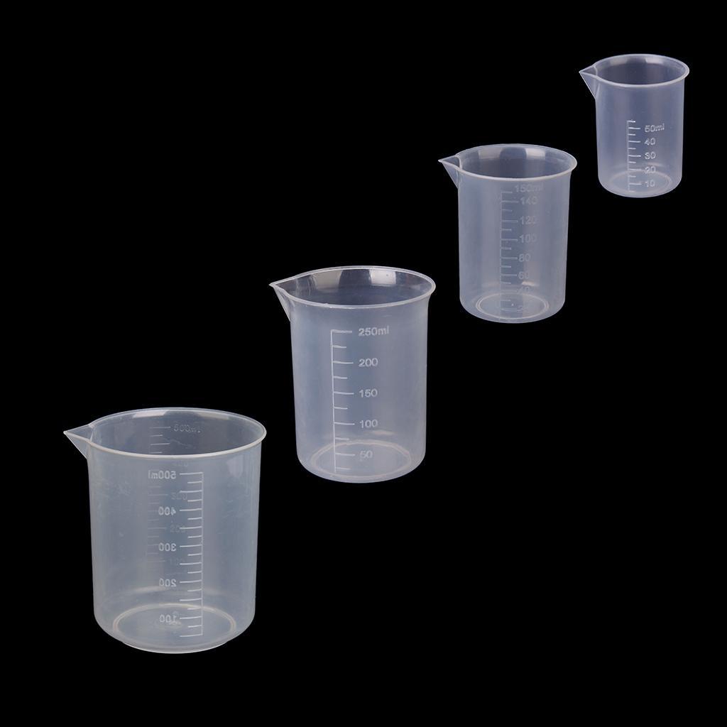 4x 50 150 250 500ml Transparent Plastic Lab Graduated Beaker Measuring Cup Tool