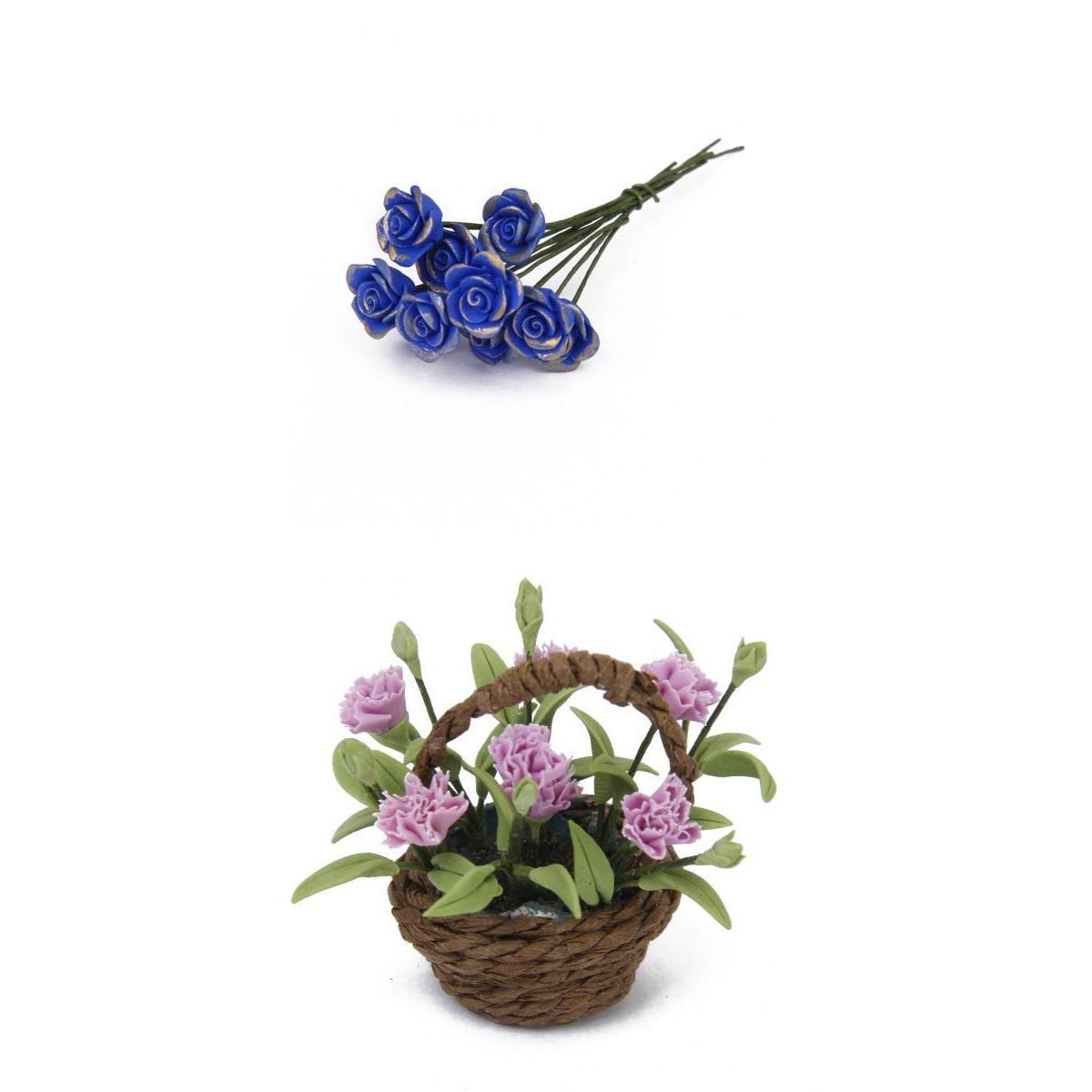 10pcs Artificial Bule Rose Clay for Dollhouse+Carnation Flower Plant w/Basket