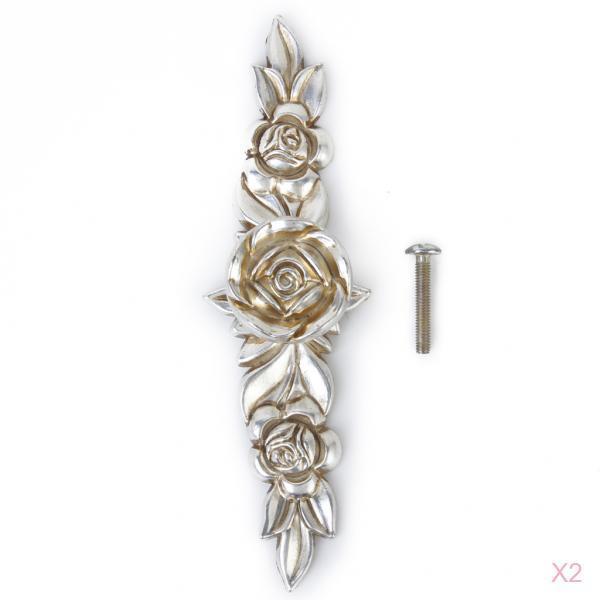 2x Antique Silver Rose Cabinet Drawer Furniture Door knob Handle Pull Hardware 146mm