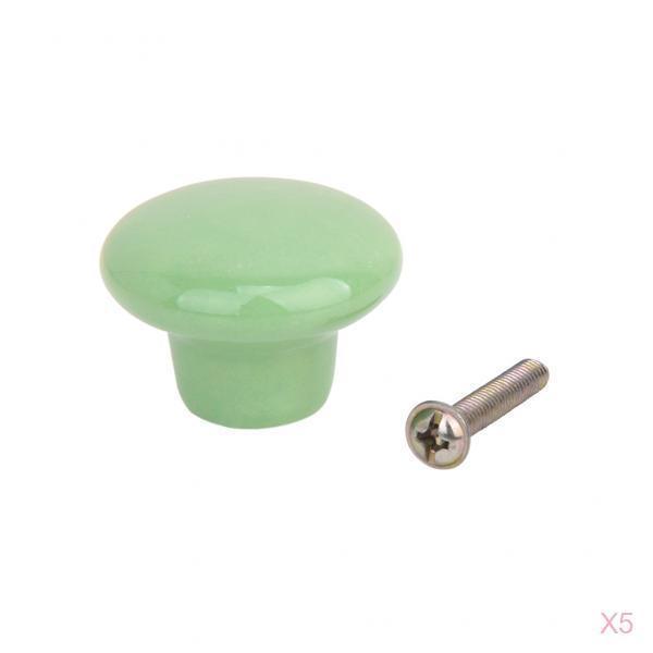 5 x Green Round Ceramic Kitchen Cabinet Cupboard Handles Pull Knobs