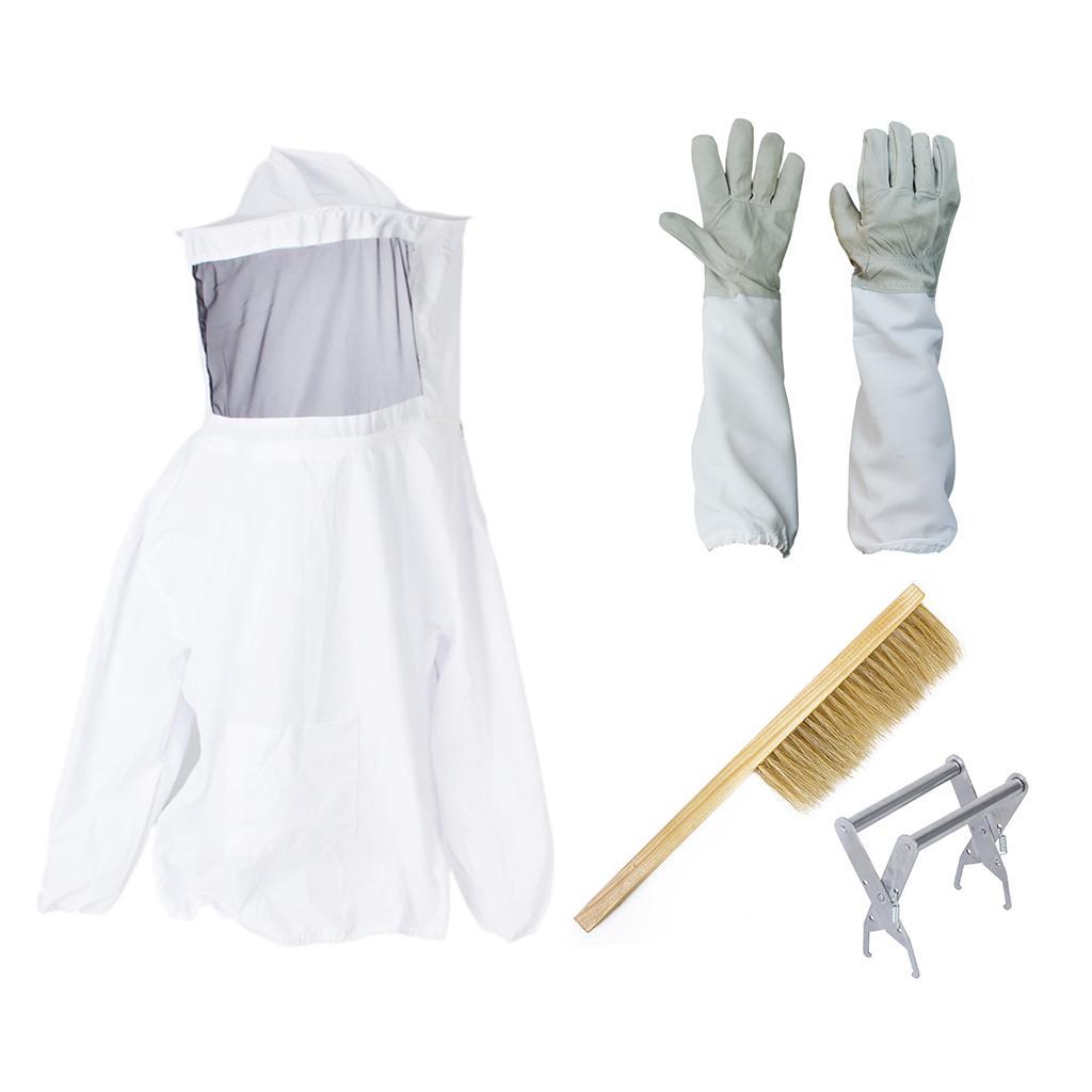 Beekeeping Jacket Veil Smock Dress Hive Frame Holder Bee Brush Goatskin Gloves