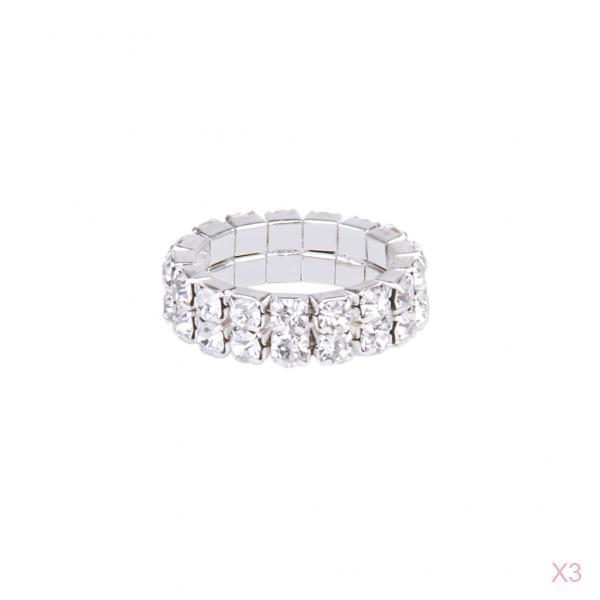 3 Stk. Elastic Silver Tone 2 Row Crystal Rhinestone Toe Ring Bridal Jewelry