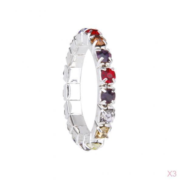 3 Pcs Elastic Single Row Multicolor Crystal Rhinestone Toe Ring Bridal Jewelry 3mm