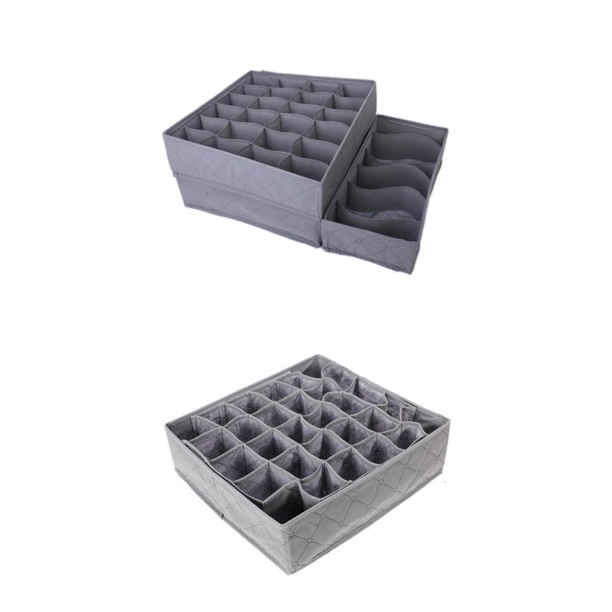 4Pcs Bamboo Charcoal Ties BRA Underwear Ties Socks Storage Organizer Divider Box