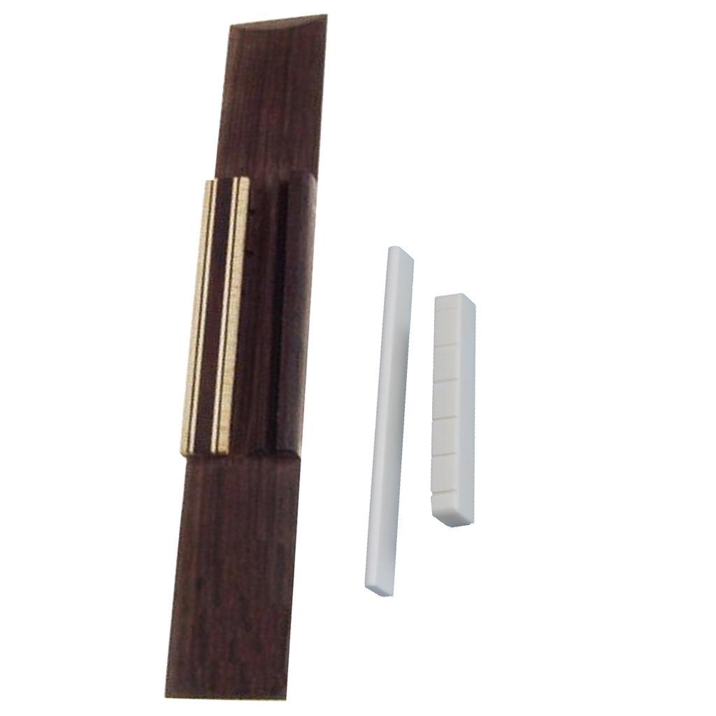 White Bone Slotted Saddle Nut Set & Rosewood Bridge for Classical Guitar Parts