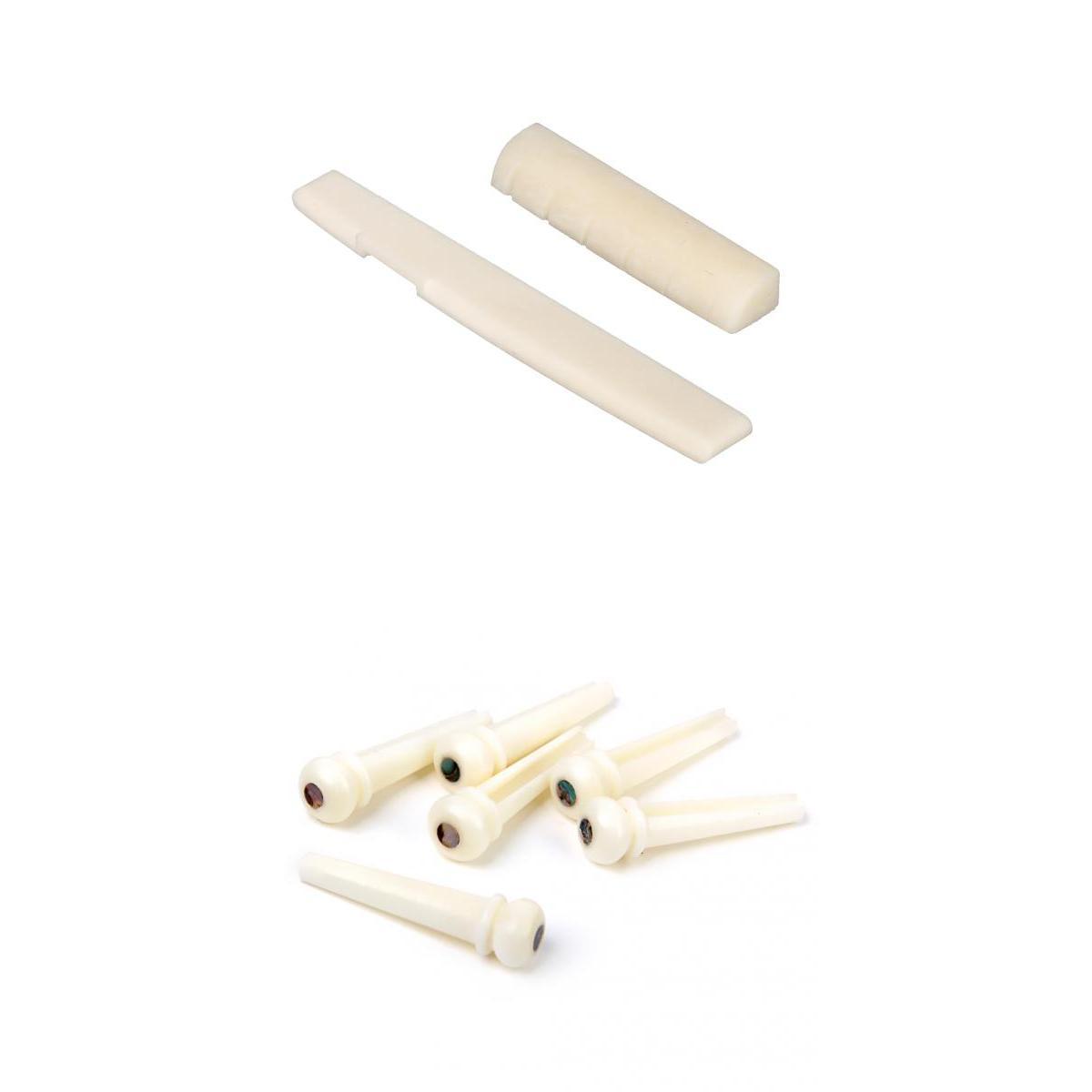Bone Bridge Saddle+Nut Sloted+6pcs Endpin w/ Abalone Dot For Acoustic Guitar