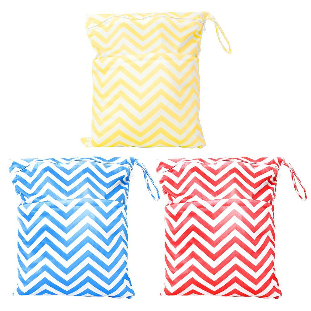 3 Waterproof Zipper Diaper Nappy Wet Dry Bag Swim Travel Tote 2-Pocket