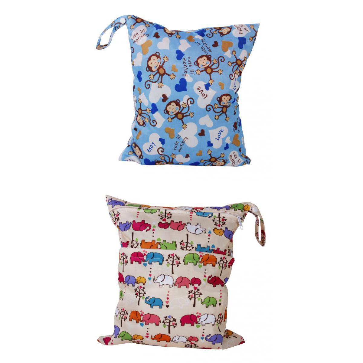 2 Zipper Diaper Nappy Wet Dry Bag Reusable Swim Travel Tote 2Pocket Animal Print