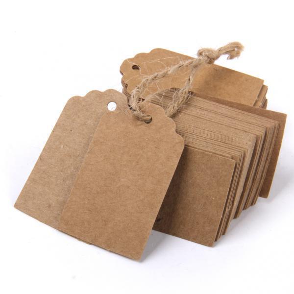200pcs Kraft Paper Blank Card Gift Tags Rectangle Label Wedding Bomboniere Brown