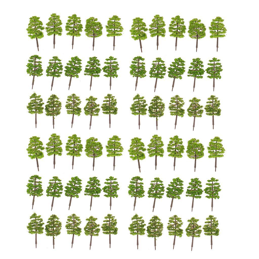 60pcs Model Trees Layout Train Railway Diorama Landscape Scenery 1:100 HO OO