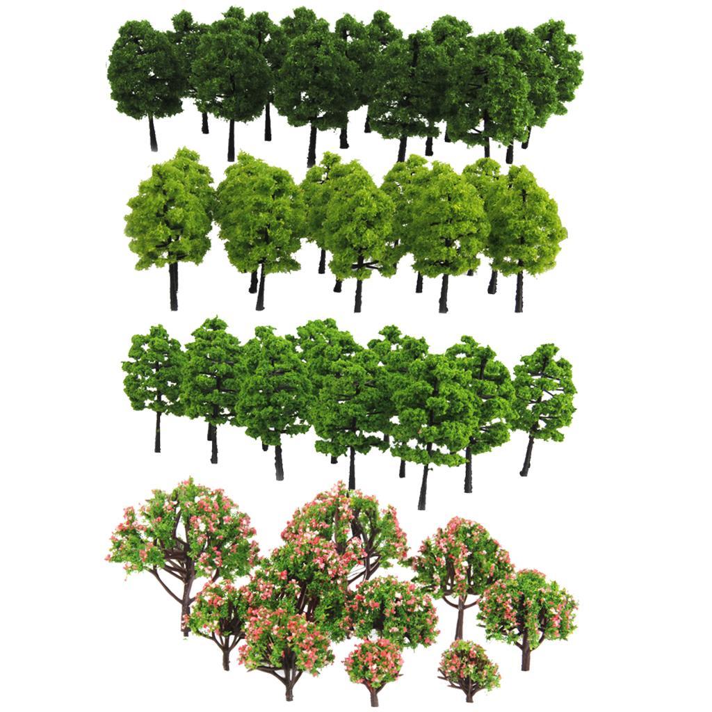 Pack of 70pcs Model Trees Layout Train Railway Diorama Landscape Scenery