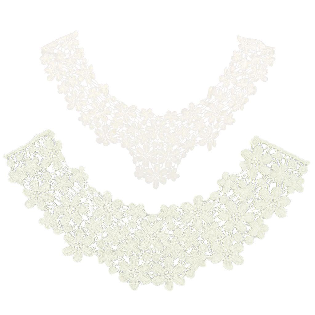 2pcs Cotton Crochet Neckline Lace Floral Trim Collar Sewing Appli...