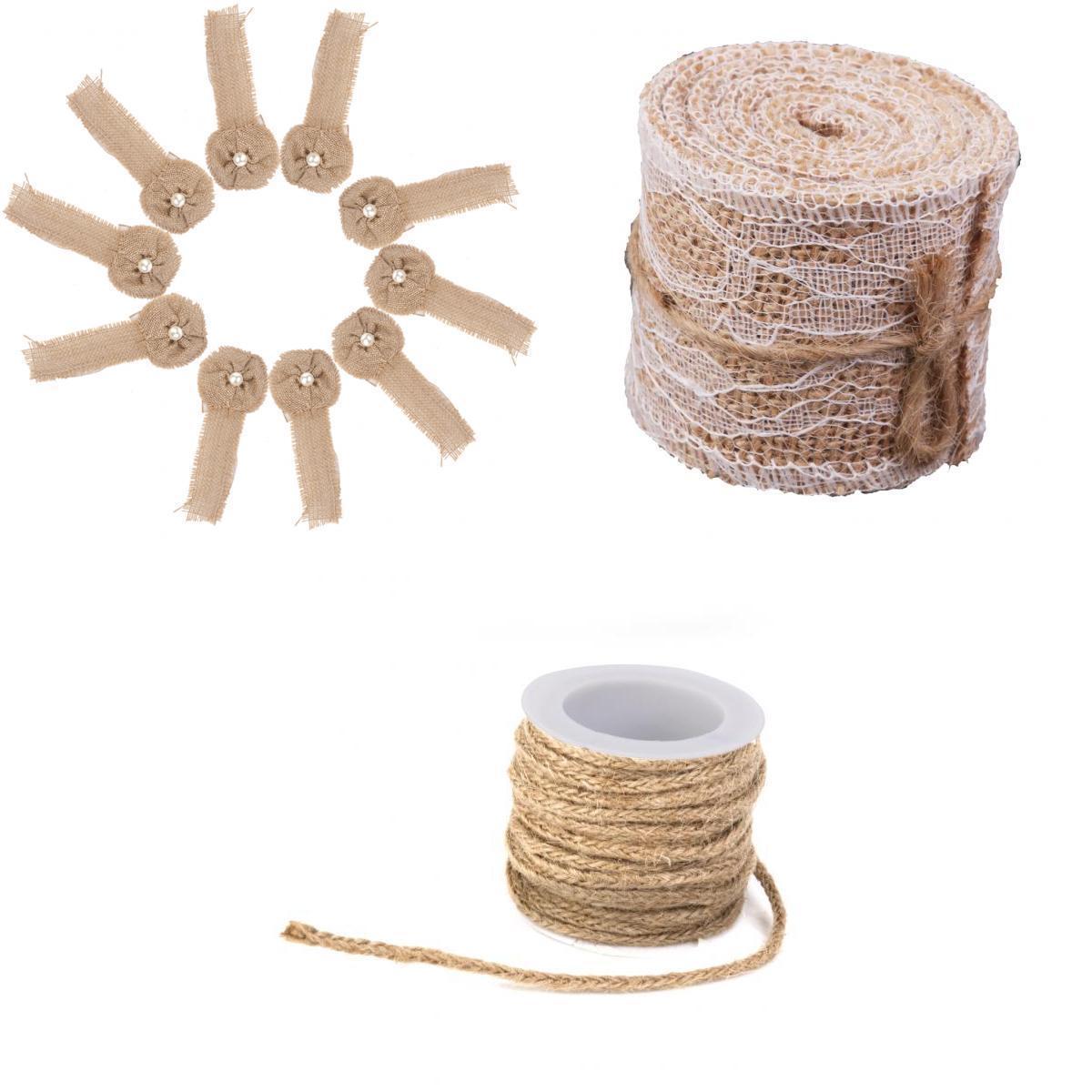 2M Hessian Burlap Ribbon Lace Trims+5M Hessian Rope+10x Hessian Burlap Flower