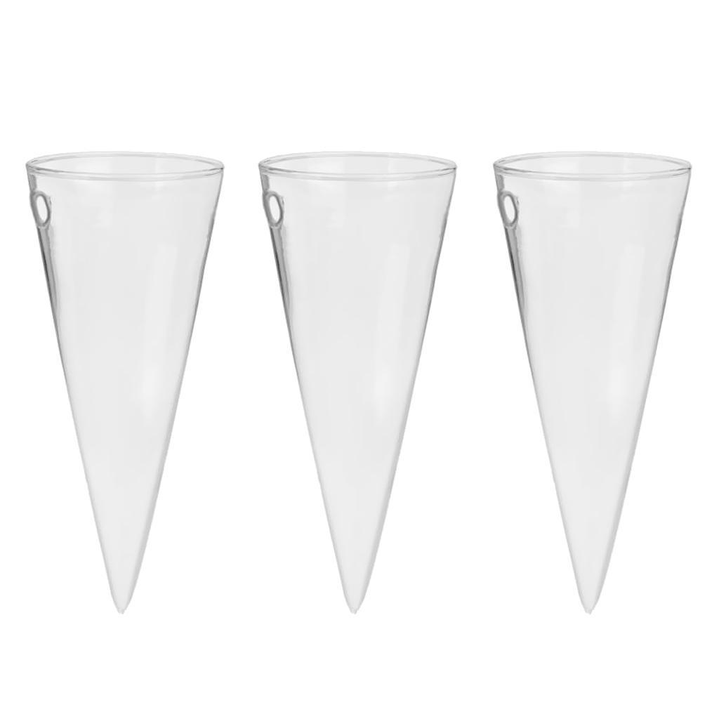 3 x Cone Glass Hanging Plant Terrarium Bottle Flower Vase Pot Wall Decor
