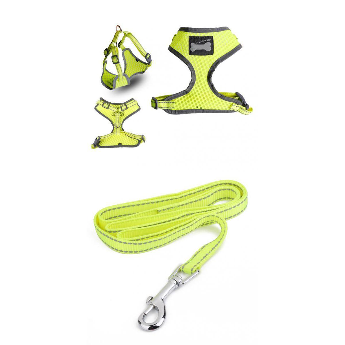 Reflective Mesh Nylon Pet Dog Walking Collar Strap Harness and Leash Yellow M