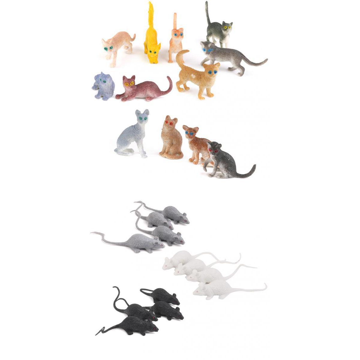 24pcs Plastic Animals Kitten Cats & Rats Mouse Model Figure Kids Party Favor Toy