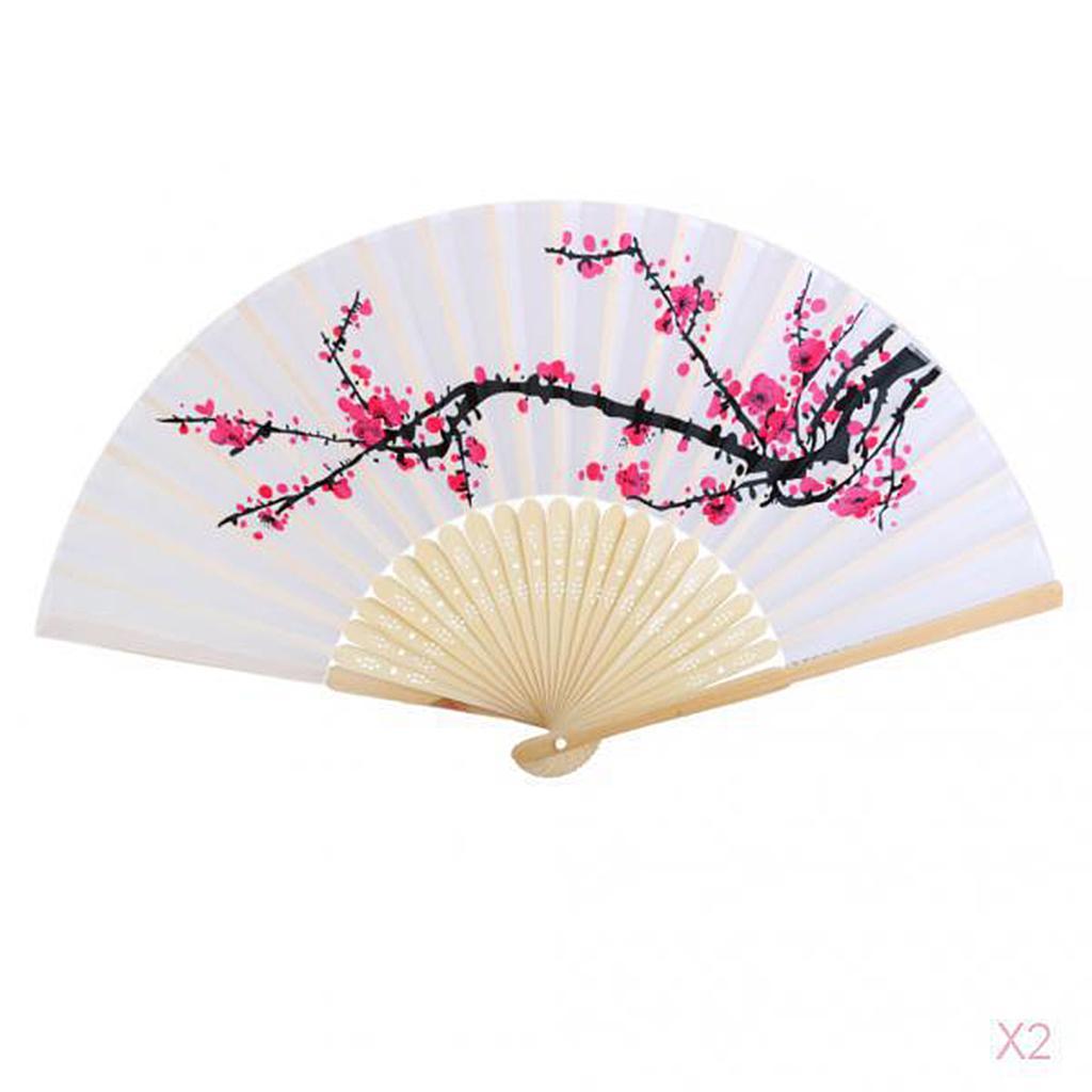 Japanese Bamboo Plum Blossom Folding Hand Held Fan Pocket Fan Wed...