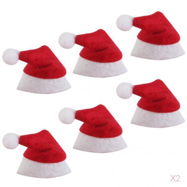 12pc Red Mini Santa Claus Christmas Hats Lollipop Topper Decorations Xmas Favor