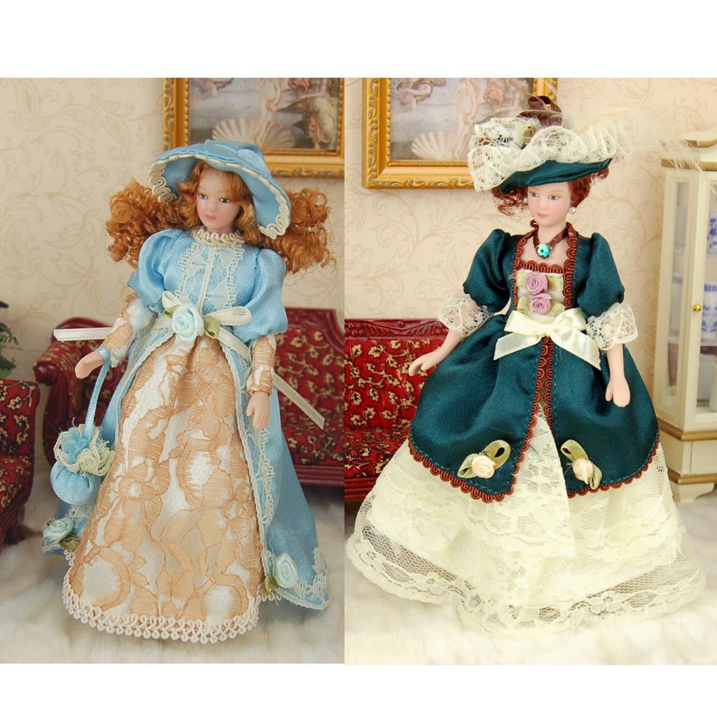 1:12 Dollhouse Miniature 2Pcs Porcelain Figure Dolls Victorian Lady in Gown