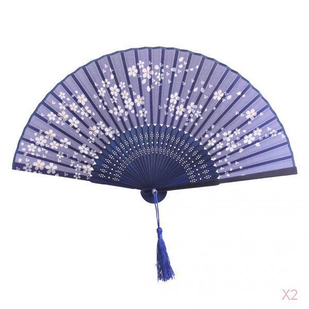Blue Japanese Silk Hand Fan Folding Fan Wedding Party Gift - Saku...