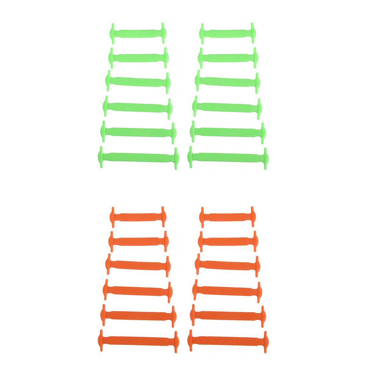 24 Kids No Tie Elastic Silicon Shoelaces Canvas Sneakers Disability Green+Orange