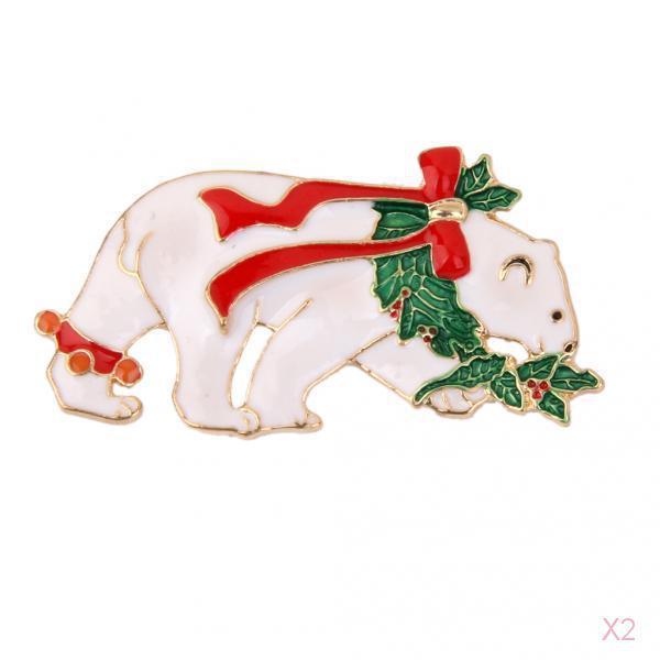 White Polar Bear Christmas Brooch Pin Xmas Holiday Party Gift
