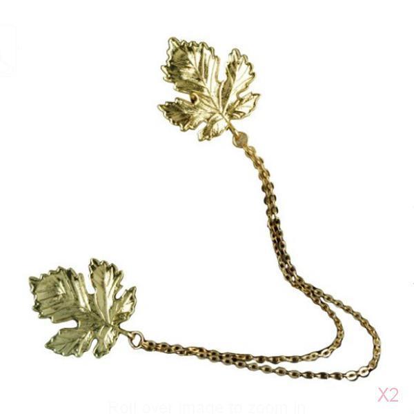 Antique Bronze Retro Maple Leaf Collar Brooch Chain Vintage Jewelry Gift