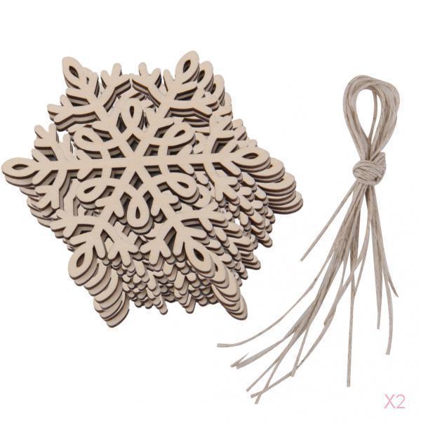 20pcs Natural Wooden Christmas/Xmas Tree Hanging Decorations Gift Snowflake 4#