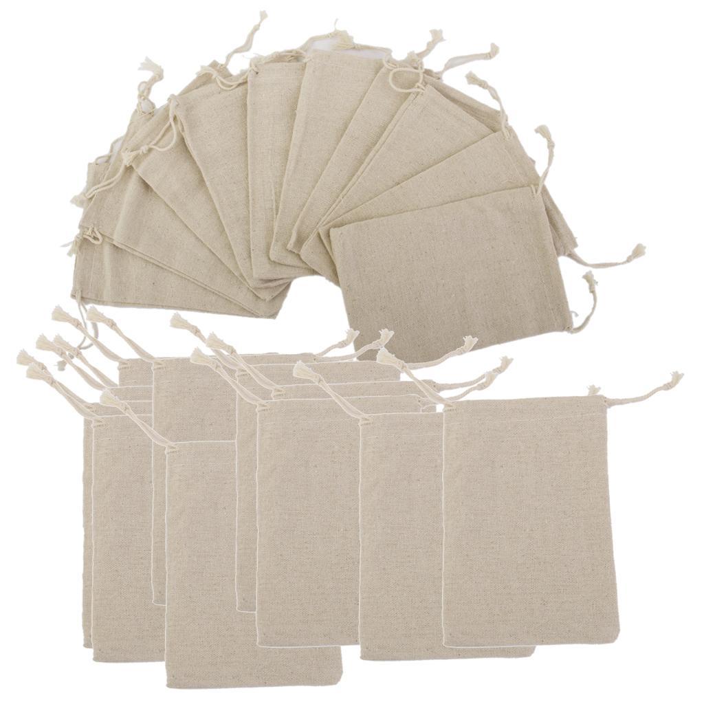 20pcs Natural Jute Hessian Drawstring Pouch Gift Bags Vintage Wedding Favor Sack