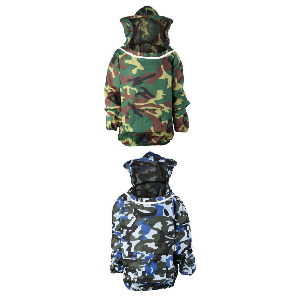 2Pcs Camo Beekeeping Jacket Veil Suit Hat Pull Over Smock Dress Equipment