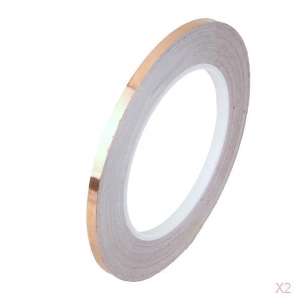 2x 5mm x 30M Adhesive Copper Foil Tape EMI Shielding Guitar Slug Snail Barrier
