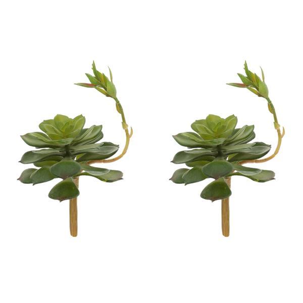 2x Artificial Succulent Plant Fake Lotus Floral Foliage Home Gard...