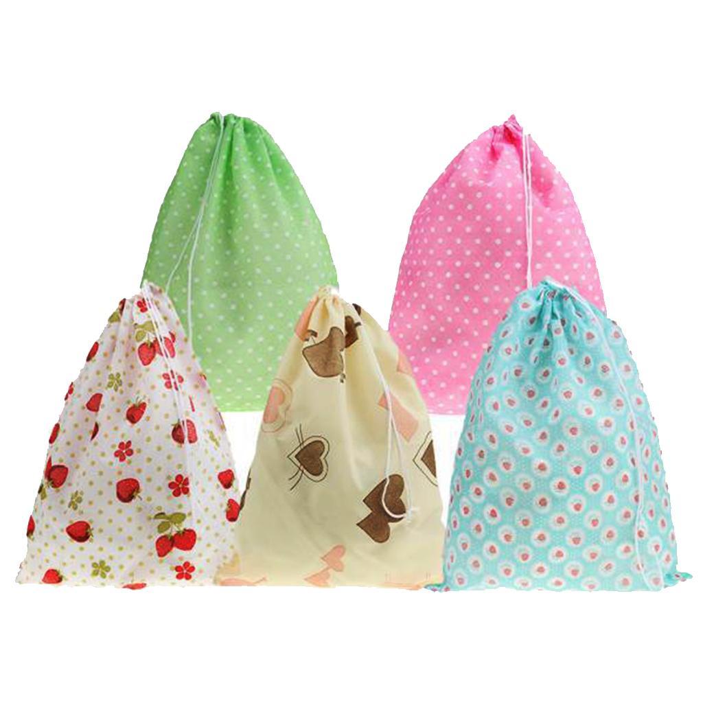 10pcs Portable Socks Towel Shoes Pouch Drawstring Storage Bag Travel Bags