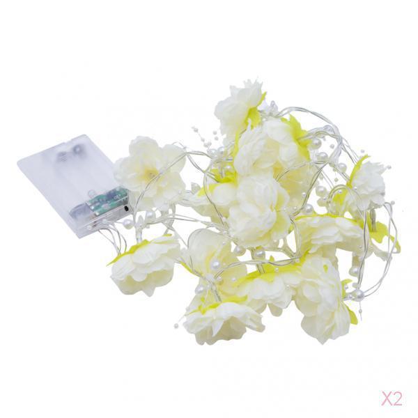 Battery Opetated White Rose Bulb Flower Garland Lamp Fairy LED String Light